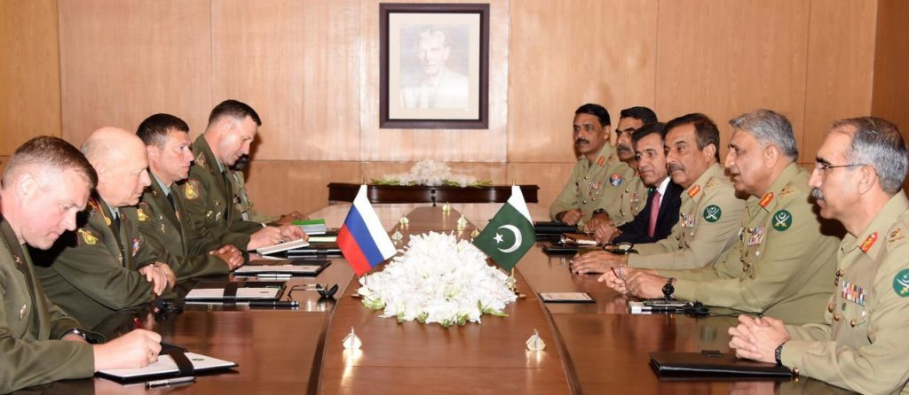 Army General Oleg Salyukov, Commander in Chief Russian Ground Forces called on General Qamar Javed Bajwa, Chief of Army Staff (COAS) at GHQ, today.