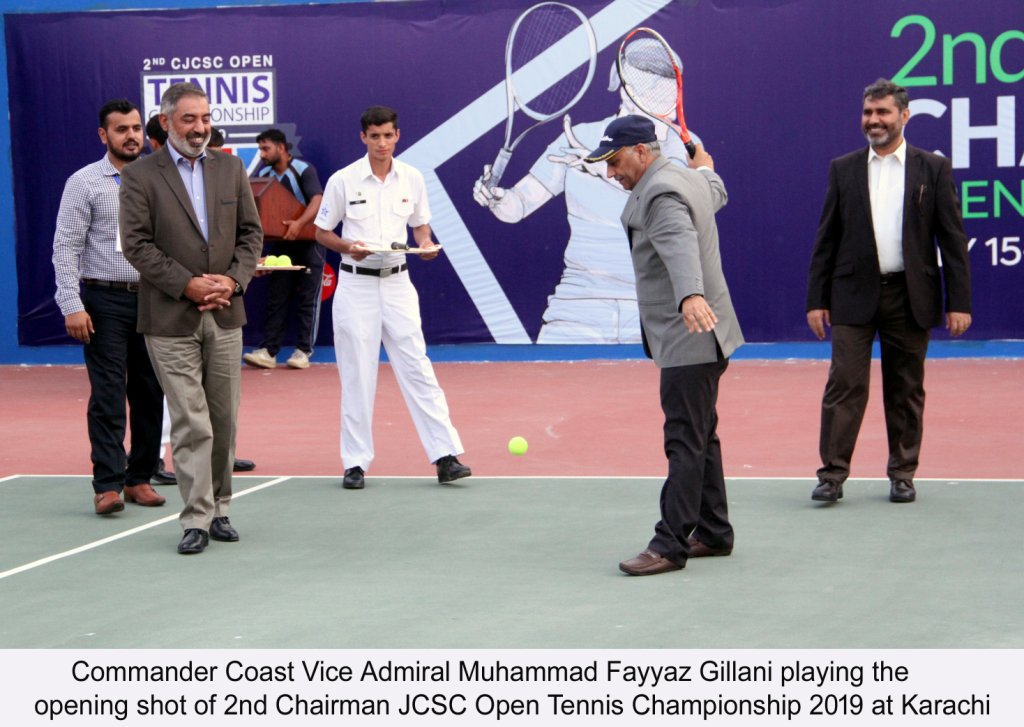The Opening Ceremony of 2nd Chairman Joint Chiefs of Staff Committee Open Tennis Championship 2019 was held at Defence Authority Creek Club, Karachi. Vice Admiral Muhammad Fayyaz Gilani, Commander Coastal Command graced the occasion as Chief Guest while declaring the Championship 'Open', played the inaugural service of the first match of the tournament.