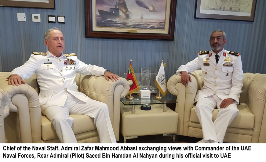 Chief of the Naval Staff Admiral Zafar Mahmood Abbasi is on an official visit to United Arab Emirates. During the visit, the Naval Chief called on Commander of the UAE Naval Forces, Chief of Staff UAE Armed Forces, UAE's Defence Undersecretary in Dubai and also visited Shipbuilding Facility, Naval Forces Institute & Ghantout Naval Base at Abu Dhabi.