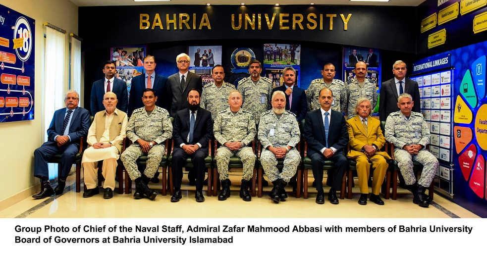 Chief of Naval Staff Admiral Zafar Mahmood Abbasi NI (M) chaired the 41st meeting of the Board of Governors of Bahria University at BU Head Office Islamabad. A detailed briefing was given to the board on the progress of various ongoing projects, with special reference to growth and diversification in academic disciplines, infrastructure enhancement, budget and new initiatives of academic & nonacademic areas. Naval Chief who is also the Pro-Chancellor and Chairman Board of Governors Bahria University appreciated efforts for focusing on students grooming through academic teachings and its core values of integrity, creativity and excellence.