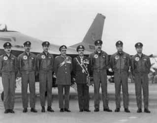 Air Chf Mshl Anwar Shamim (4th from right), President of Pakistan Gen Zia-ul- Haq (5th from right) along with the F-16 pilots during the induction ceremony of F-16 aircraft at Sargodha - FearlessWarriors.PK