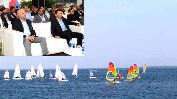 Air Chief Marshal Mujahid Anwar Khan, Chief of the Air Staff, Pakistan Air Force along with Air Vice Marxhal Abbas Ghuman Air Officer Commanding, Southern Air Command witnessing the Closing Ceremony of 2nd CAS International Open Sailing Champioship-2019 at PAF Airmen Academy, Korangi Creek.