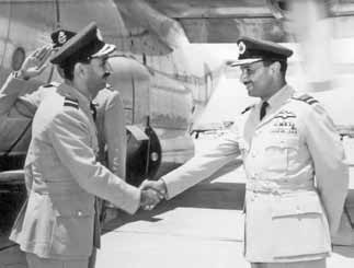 Air Mshl Nur Khan being received by his predecessor, Air Mshl Asghar Khan during the change of command ceremony - FearlessWarriors.PK