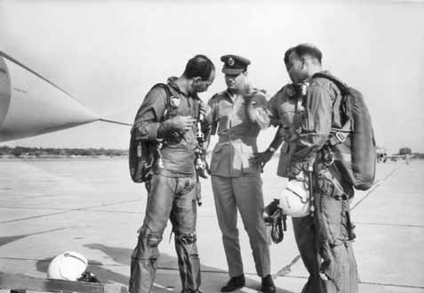 Air Mshl Nur Khan (left) getting ready to fly the Star Fighter at Sargodha (1965)- FearlessWarriors.PK
