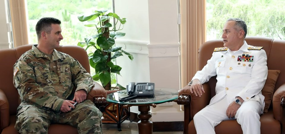 Aug 2nd 2019 - Chief of the Naval Staff, Admiral Zafar Mahmood Abbasi, exchanging views with Brig Gen Adam R. Silvers U.S. Senior Defence Official, at Naval Headquarters Islamabad. - FearlessWarriors.PK