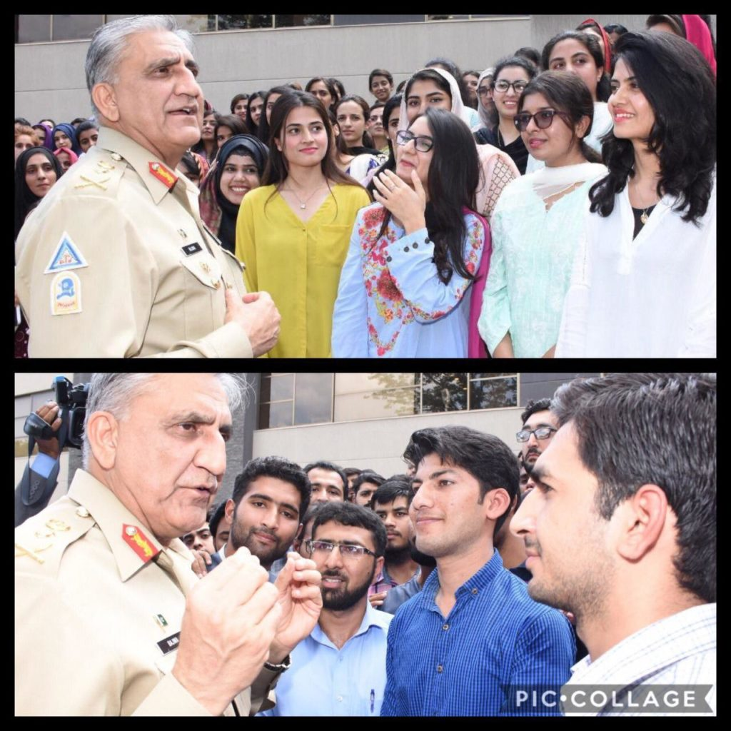General Qamar Javed Bajwa, Chief of Army Staff (COAS), interacted with youth undergoing annual internship program at ISPR. Speaking on the occasion, General Qamar Javed Bajwa said that Pakistan is blessed with dynamic and talented youth and future of Pakistan belongs to them.