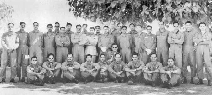 Days of War Sqn Ldr Iqbal standing 7th from right along with Bomber aircrew at Mauripur - FearlessWarriors.PK