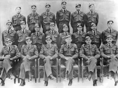 Flt Cdt Iqbal (standing 2nd from left-first row) along with his course mates of 13 GD(P) course, during training at Risalpur - FearlessWarriors.PK