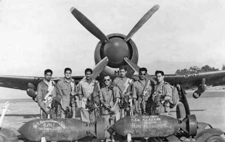 Flt Lt Zafar Masud 2nd from right along with pilots in front of a No 9 Sqn Tempest at Peshawar - Ghazi of 1965 War - FearlessWarriors.PK