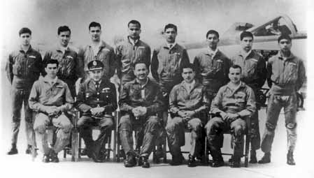 Gp Capt Zafar Masud (sitting 2nd from left), Air Mshl Asghar Khan, C-in-C, PAF (centre) along with pilots of No 9 Sqn at PAF station Sargodha (1963) - Ghazi of 1965 War - FearlessWarriors.PK