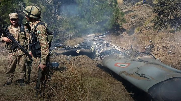 Indian Air Force Mig aircraft shot down by Pakistan Air Force. Phot: BBC - FearlessWarriors.PK
