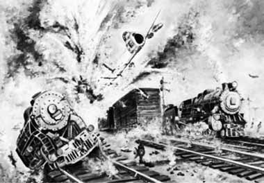 Sqn Ldr Alauddin Ahmed blasts the ammo train moments before his Shahadat, near Gurdaspur Railway station during 1965 War - FearlessWarriors.PK