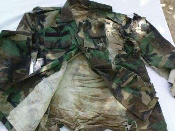 Uniform of Captain Bilal, after he got a hit by a rocket launcher. - FearlessWarriors.PK