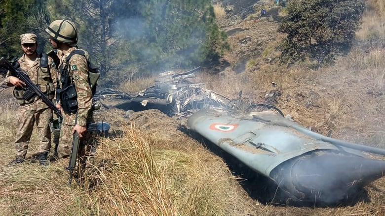 Wreckage from one of the Indian aircraft shot down. 3- FearlessWarriors.PK
