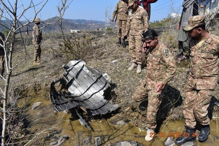 Wreckage from one of the Indian aircraft shot down. - FearlessWarriors.PK
