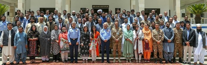 Air Chief Marshal Mujahid Anwar Khan, Chief of the Air Staff, Pakistan Air Force along with participants of National Security Workshop Balochistan during their visit to Air Headquarters.