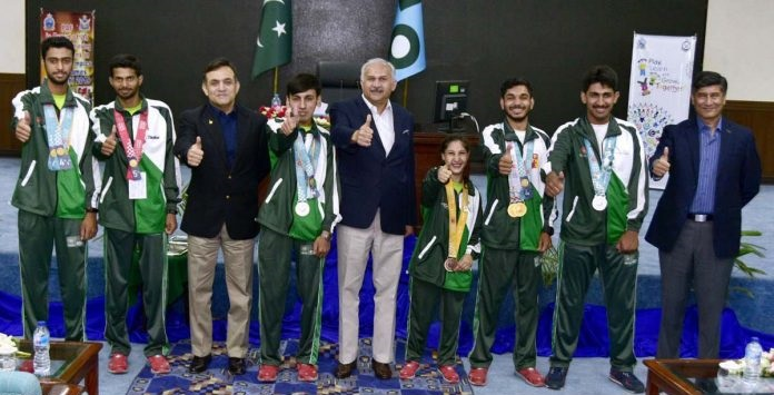 Air Chief Marshal Mujahid Anwar Khan, Chief of the Air Staff, Pakistan Air Force alongwith PAF players who won medals in Special Olympics 2019 held at Abu Dhabi.