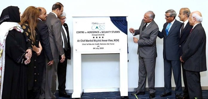 Air Chief Marshal Mujahid Anwar Khan Chief of the Air Staff Pakistan Air Force unveiling the plaque of newly established PAF Think Tank, Centre for Aerospace and Security Studies.