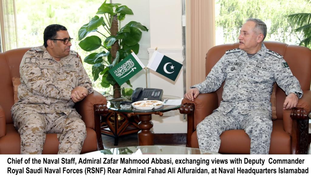 Chief of the Naval Staff Admiral Zafar Mahmood Abbasi, exchanging views with Deputy Commander RSNF Rear Admiral Fahad Ali Alfuraidan at Naval Headquarters Islamabad