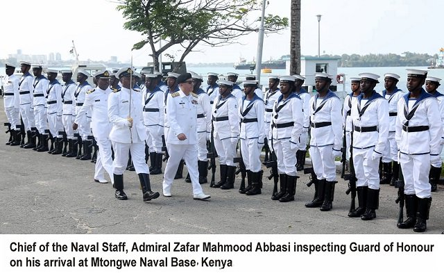 Chief of the Naval Staff Admiral Zafar Mahmood Abbasi is on an official visit to Kenya. During the visit, Naval Chief called on Commander Kenya Navy and also visited various naval institutions.