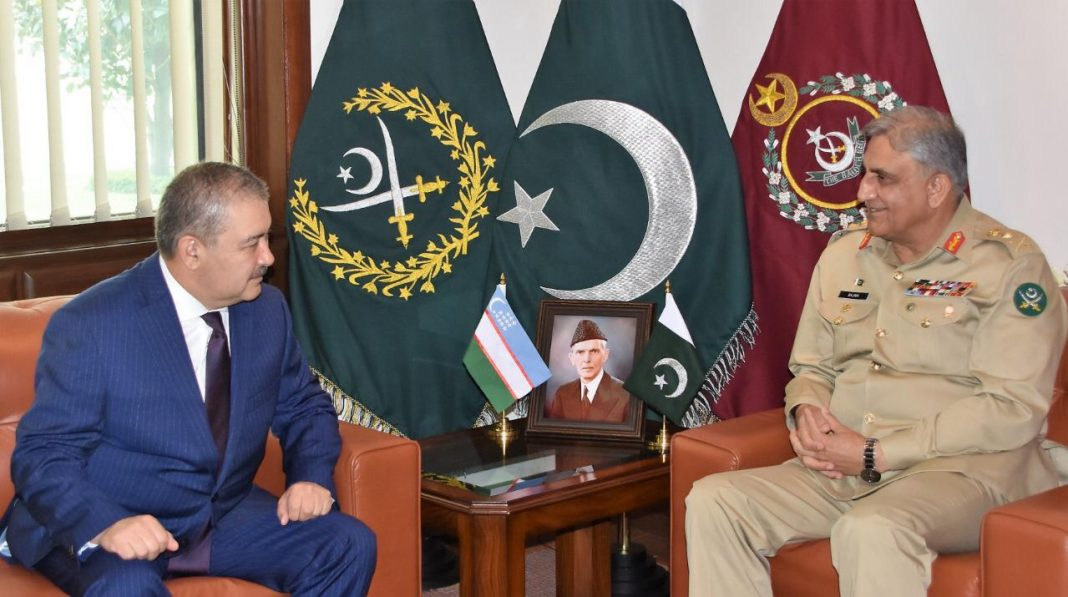 Lieutenant General Azizov Abdusalom Abdumavlonovich, Chairman of the State Security Services of Uzbekistan called on General Qamar Javed Bajwa, Chief of Army Staff (COAS) at GHQ, today.