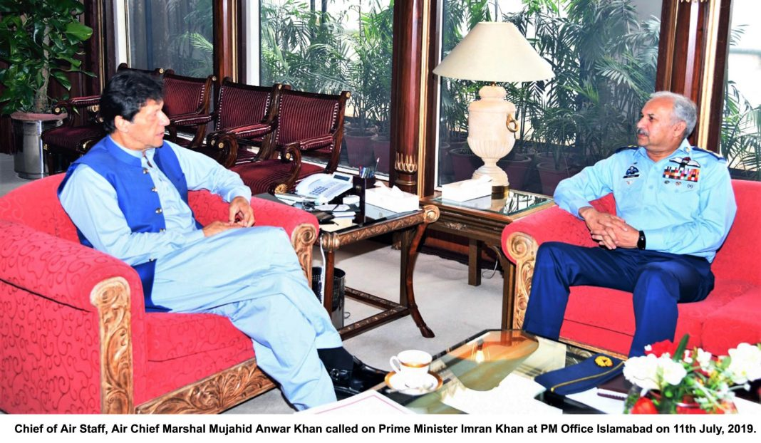 The Chief of Air Staff Air Marshal Mujahid Anwar Khan called on Prime Minister Imran Khan at the PM Office here on Thursday.