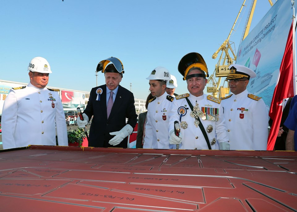 Turkish Preisdent and Chief of Naval Staff of Pakistan performing steel cutting ceremony of Milgem Ada class corvette for Pakistan navy at Istanbul on 29 September - FearlessWarriors.PK