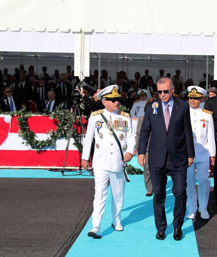 Turkish President and Naval Chief of Pakistan marching to a venue to parform steel cutting ceremony of Milgem Ada class for Pakistan - FearlessWarriors.PK