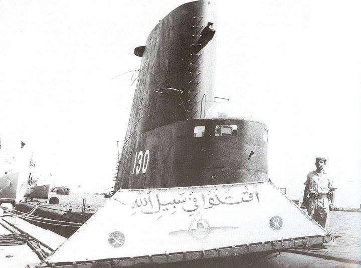 A proud sailor stands guard on the brow of PNS-M Ghazi shortly after her return from war patrol in 1965 war. - FearlessWarriors.PK