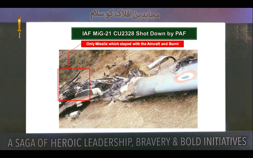 Only missile which stayed with the Aircraft of Wng Cdr Abhinandan and burnt. FearlessWarriors.PK