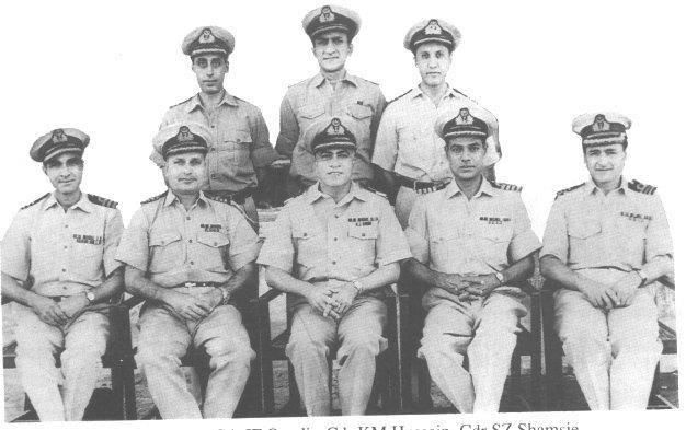 Dawark Operation - September 1965-Commanding Officers Standing L-R Cdr I F Quadir, Cdr K M Hussain, Cdr S Z Shamsie Sitting Cdr A Aslam, Capt M A K Lodhi, Commodore S M Anwar, Capt A Hanif, Cdr I H MalikDawark Operation - September 1965-Commanding Officers Standing L-R Cdr I F Quadir, Cdr K M Hussain, Cdr S Z Shamsie Sitting Cdr A Aslam, Capt M A K Lodhi, Commodore S M Anwar, Capt A Hanif, Cdr I H Malik