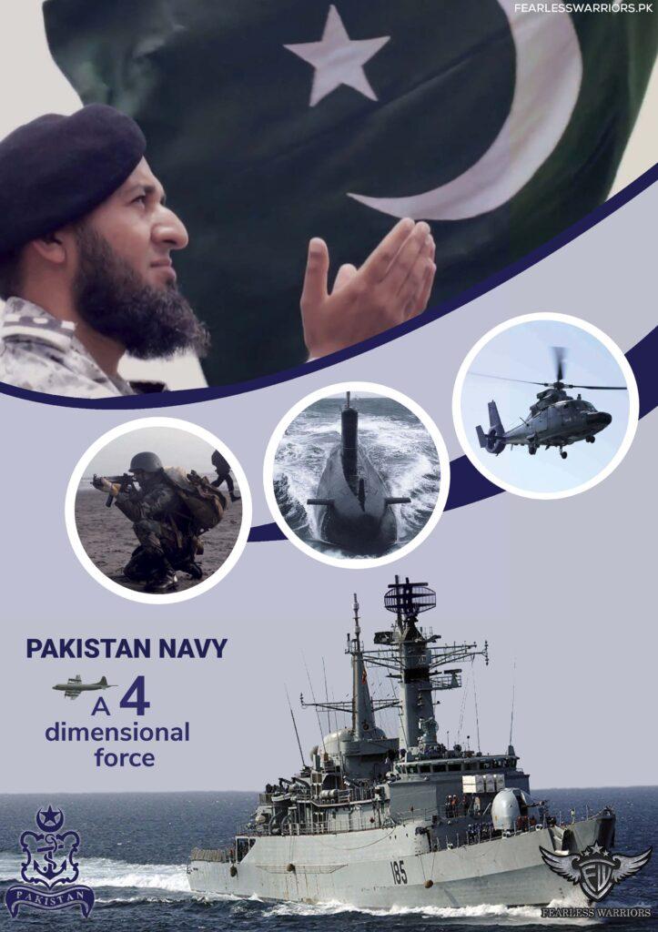 PAKISTAN NAVY - A 4 DIMENSIONAL FORCE - Samandron Ki Pasban Navy - POSTER