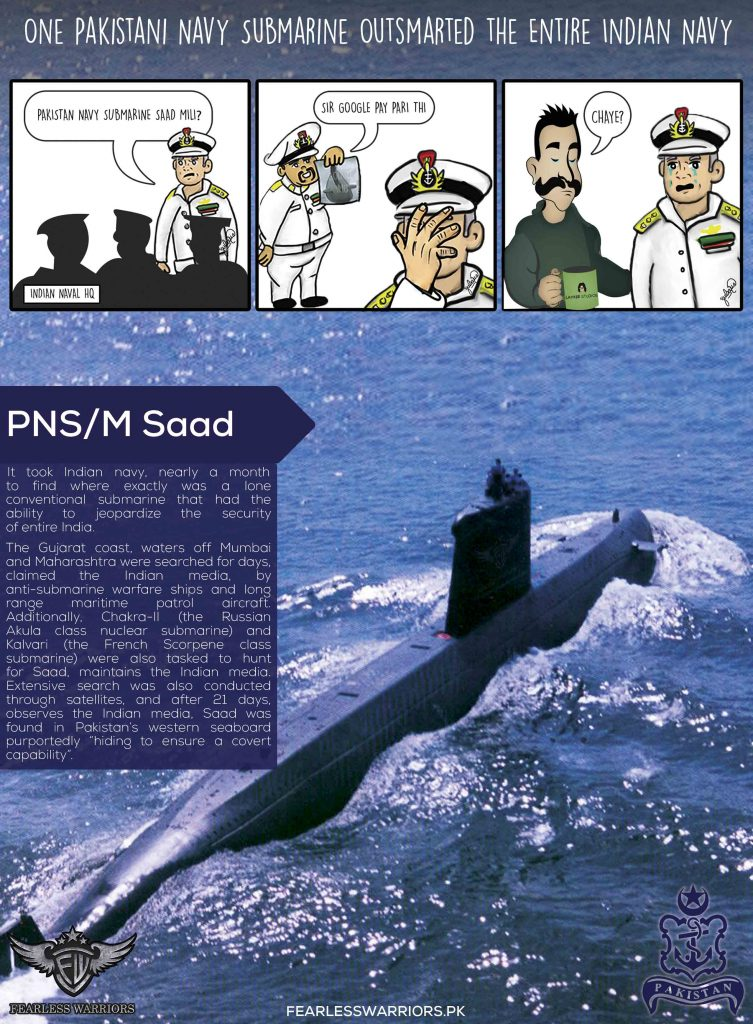 PAKISTAN NAVY SUBMARINE VS ENTIRE INDIAN NAVY - POSTER - FearlessWarriors.PK