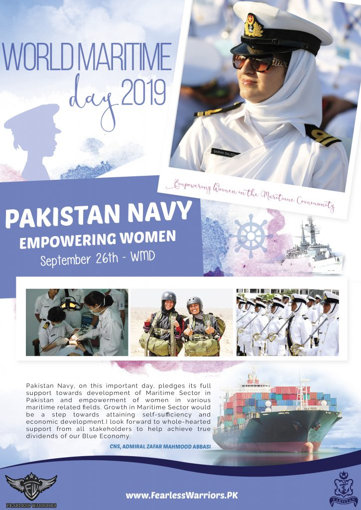 Pakistan Navy Empowering Women in the Maritime Community - World Maritime Day 2019 Cover - FearlessWarriors.PK