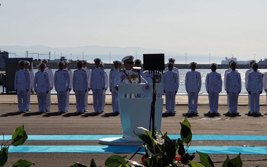 Sep 29 2019 - CNS Admiral Abassi addressing during the Steel cutting ceremony of MILGEM Ada class frigates of Pakistan Navy Cover - FearlessWarriors.PK