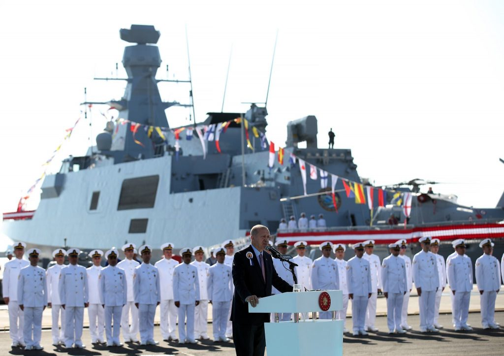 Sep 29 2019 - Turkish President Erdogan addressing during the Steel cutting ceremony of MILGEM Ada class frigates of Pakistan Navy - FearlessWarriors.PK