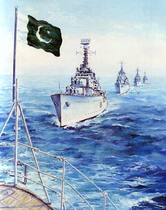 The formation of PNS Babur, PNS Badr, PNS Shahjahan, PNS Tipu Sultan, and PNS Jehangir is heading towards Dwarka on 8 Sep 1965. - FearlessWarriors.PK
