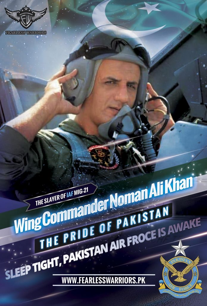 Wng Cdr Noman Ali Khan - The Slyer of Indian Air Force Mig 21 - Poster Final - FearlessWarriors.PK